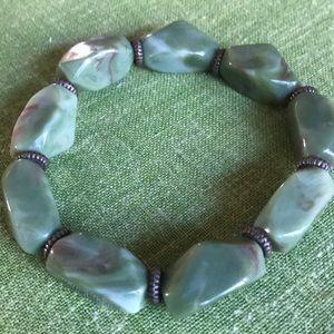 Retro green Lucite elastic bracelet jewelry